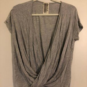 Free People XS Gray Short Sleeve Twisted Shirt
